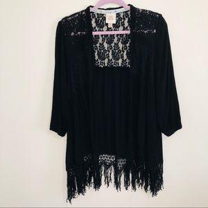 Knox Rose black lace tassel ribbed cardigan M